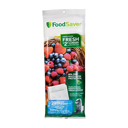 FoodSaver 1-Gallon Multilayer Construction Vacuum Zipper Bags, 20 Count
