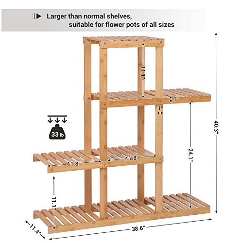 SONGMICS Bamboo Wood Plant Display Rack, Stand Shelf, Flower Pots Holder, 4 Tier Utility Shelving Standing Unit Storage Organizer Rack for Living Room Balcony Hallway Bathroom UBCB91N by SONGMICS (Image #4)