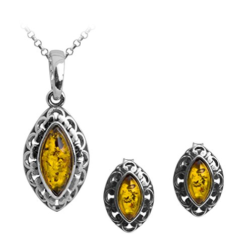 Sterling Silver Amber Marquise Stud Earrings Pendant Set Chain 18 Inches