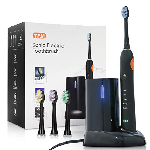 Electric Toothbrush, Y.F.M Waterproof Rechargeable Toothbrush for Adults, 5 Modes with 2 Min Build in Timer, UV Disinfection, 4Pcs Replacement Heads Share with Your Family - Whitening Your Teeth