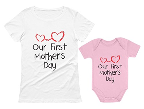 Our First Mother's Day Outfit for Mom & Baby Matching Set Bodysuit & Women Shirt Mom White Large/Baby Pink 18M -