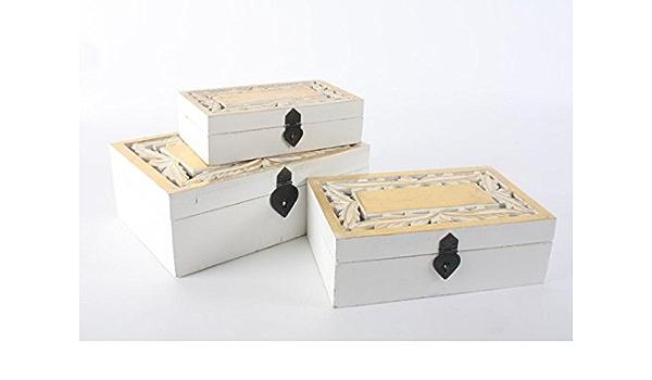 Set 3 cajas etnicas de madera blanca y dorada: Amazon.es: Hogar