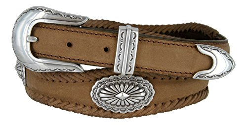 Arizona Southwestern Conchos Western Leather Scalloped Belt Brown -