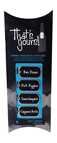 """That's Yours """"Dirty Birdie"""" Bottle Drink Tag Packaged Collection, Black/White, Set of 4"""