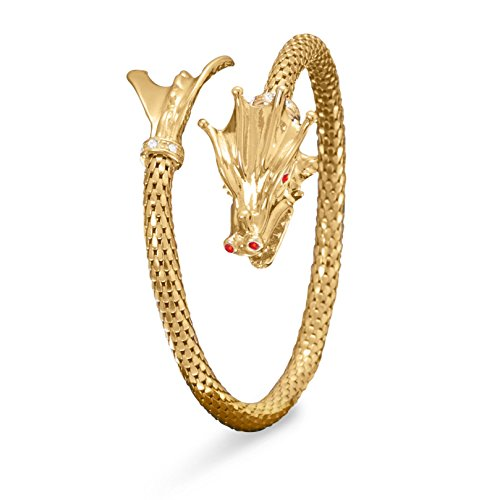 14K Gold Plated Sterling Silver Wrap Style Bangle Bracelet, Dragon Head and Tail Ends, Red CZs by Silver Messages