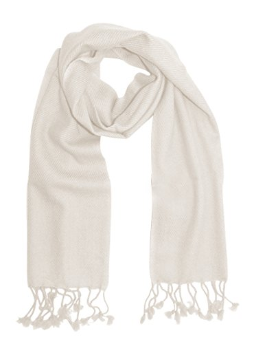 Unisex Lovely Cashmere Scarf Soft and Warm Neck Scarves in Solid Colors (Off White)
