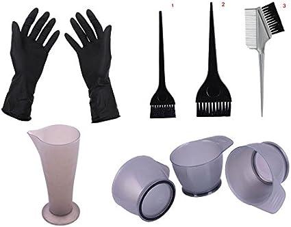 Kit de salón para coloración decoloración, guantes, cuencos tinte, pinceles, bote (8 artículos)