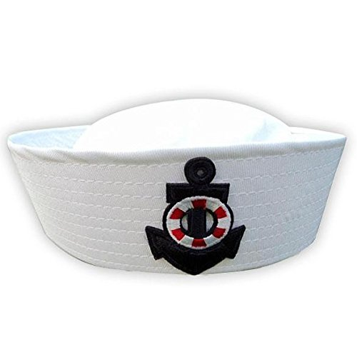 Stylish simplicity,Leisure,Adult Child White Sailor Navy Hat Cap with Anchor for Fancy Dress FINIFLY
