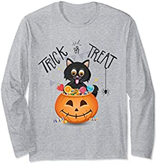 Halloween Cat Kitten Trick Or Treat Funny Long Sleeve T-shirt | Size S - 5XL