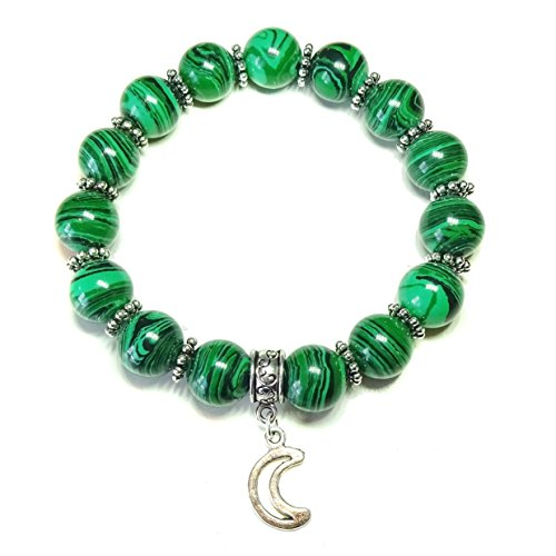 Green Malachite Handcrafted Stretch Bracelet Approx. 20.5cm