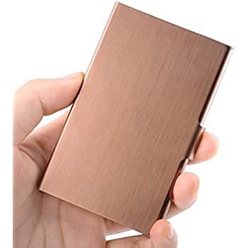 Amazon yobansa stainless steel gold business card holder maxgear business card case professional business card holder slim stainless steel card holder personality metal name card holder for men women bronze gold colourmoves