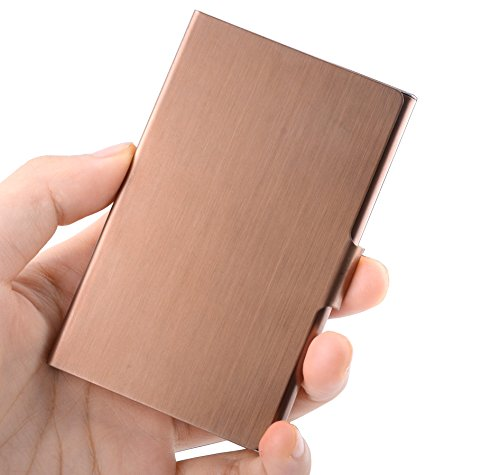 MaxGear Business Card Case, Professional Business Card Holder Slim Stainless Steel Card Holder Personality Metal Name Card Holder for Men & Women Bronze Gold (For Personalized Christmas Cards Business)