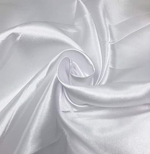 83137369b7829 KMS カラー サテン 生地 無地 ポリエステル ハンドメイド 素材 材料 幅150cm (3m ホワイト)の