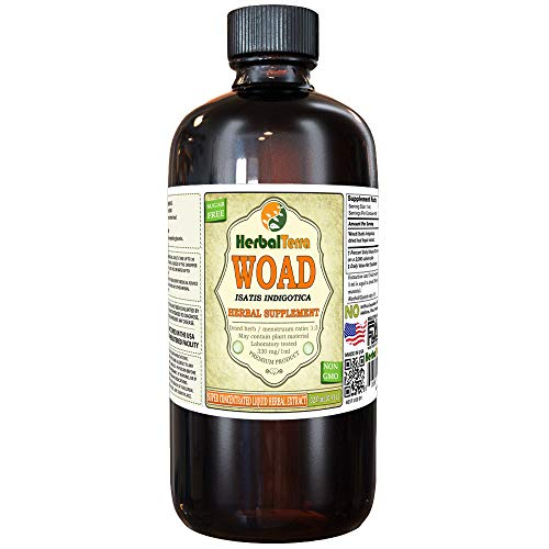 Woad (Isatis Indigotica) Tincture, Dried Leaves Liquid Extract (Brand Name: HerbalTerra, Proudly Made in USA) 32 fl.oz (0.95 l)