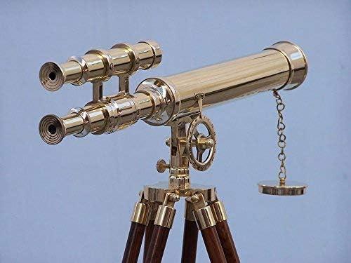 Brass Telescope Double Barrel Nautical Decorative Spyglass On Tripod Antique Inspired