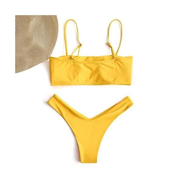 ZAFUL Bikini Set a Fascia Alta da Bonna Costumi da Bagno Imbottito con Cinturino a Moschettone 3 spesavip
