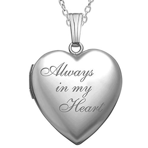 PicturesOnGold.com Always in My Heart Silver Heart Locket Pendant Necklace - 3/4 Inch X 3/4 Inch - Includes Sterling Silver 18 inch Cable Chain (Locket Heart Woman Forever)