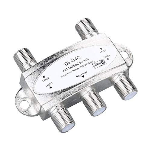 creatYspace-US 4 in 1 4 x 1 DiSEqc 4-Way Wideband Switch DS-04C High Isolation Connect 4 Satellite Dishes 4 LNB for Satellite Receiver