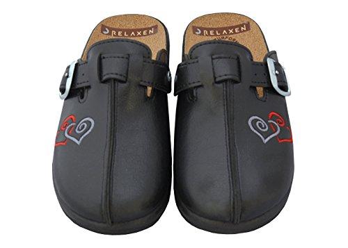 Relaxen Damen Pantolette Sandalen Komfort Kork Hausschuhe Arbeit Modell 3512-PT Schwarz-Herz