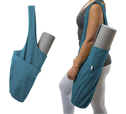 Yoga Mat Bag by Yogiii | The YogiiiTote | Yoga Mat Tote Sling Carrier w/ Large Side Pocket & Zipper Pocket | Fits All Size Mats (Azulene Blue)