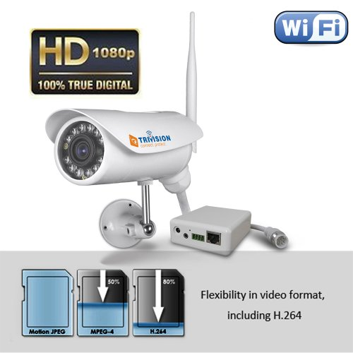 TriVision NC-336W HD 1080P Home IP Security Camera Outdoor Waterproof, Wireless N, 100% IP66-Rated Waterproof, Infrared Night Vision, Motion Detectio Triggered Email Alert,Built-in DVR , Install in 3 Steps with Our Free Dedicated on iPhone, iPad, Android