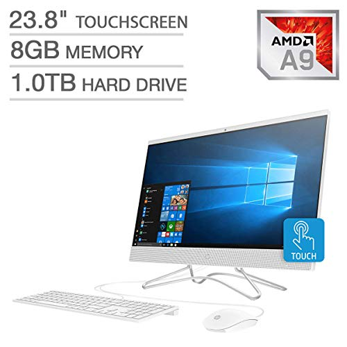 2019 HP 23.8″ FHD Touchscreen IPS-WLED Backlit Micro Edge Display AIO Desktop Computer, 7th Gen AMD A9-9425 Up to 3.7GHz, 8GB DDR4 RAM, 1TB HDD, 802.11AC Wifi, Bluetooth 4.2, HDMI, USB 3.0, Windows 10