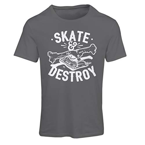 lepni.me Women's T-Shirt Skate and Destroy for Skateboarder, Skateboarding Lovers (Small Graphite Multi Color) - Graphite Hockey Skates