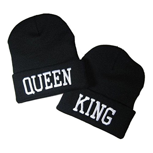 Couple Matching King & Queen Warm Stylish Beanie Hat (White letter) by Donsane