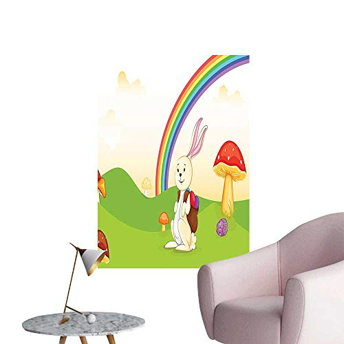 Wall Art Prints Easter Egg Under The Happy Rabbit in The Nature Kids Theme Fun for Living Room Ready to Stick on Wall,28