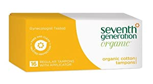 Seventh Generation Organic Tampons with Applicator 16 Count Box Packaging May Vary
