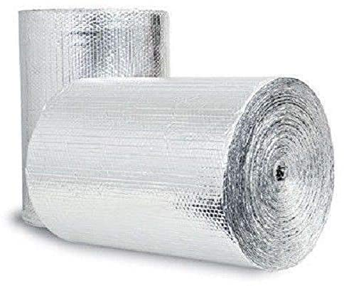 """US Energy Products Double Sided Reflective Heat Radiant Barrier Aluminum Foil Insulation (1/4 Thick R8 Double Poly-Air) Roll: Walls Attics Air Ducts Windows Radiators HVAC Garages + More (16"""" x 200')"""