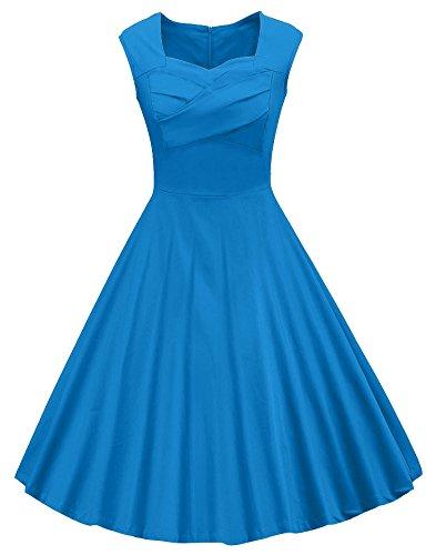 VOGVOG Women's 1950s Retro Vintage Cap Sleeve Party Swing Dress, Blue, Large ()