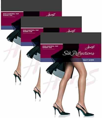 6196f6957 Hanes Women`s Set of 3 Silk Reflections Non-Control Top Sheer Toe Pantyhose