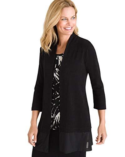 Chico's Women's Travelers Classic Mesh-Trim Jacket Size 16/18 XL (3) Black ()