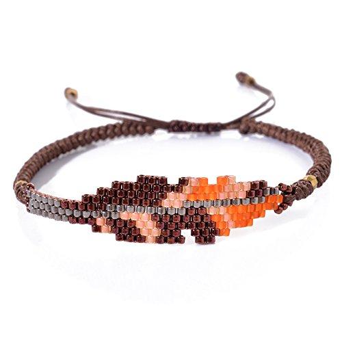 BeadChica Handmade Tribal Seed Bead Bracelet - Beaded Leaf Bracelet - Adjustable (Color (Beaded Leaves)