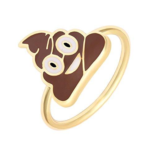 MANZHEN Cool Poop Emoji Poo Emotion Fun Geek Ring (Wedding Ring Emoji)