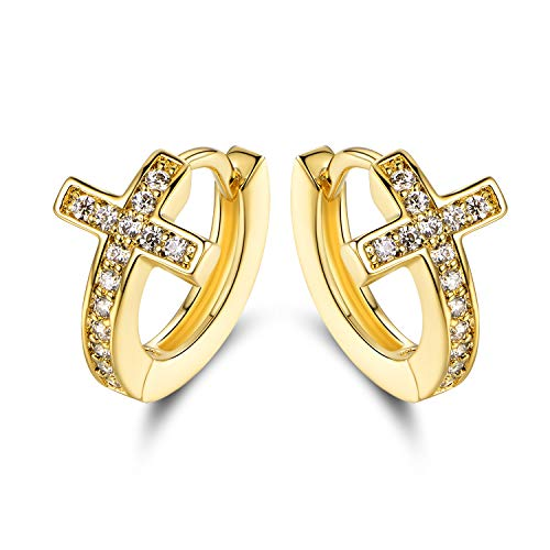 Barzel 18k Gold Layered Crystal Cross Earrings Made With Swarovski ()
