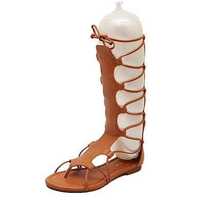 LvYuan gladiador sandalias de verano de la PU talón plano ocasional con cordones Brown