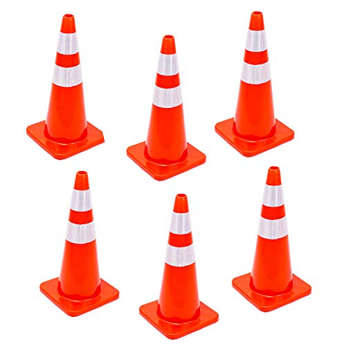 6 Cones 28'' Orange Traffic Safety Cone with Reflective Collar Road Packing PVC Plastic(Set of 6) by DOKIO (Image #3)