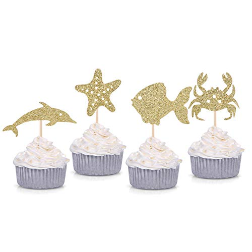 24 Gold Glitter Under the Sea Themed Cupcake Toppers Baby Shower Birthday Party Sea Creature Decorations