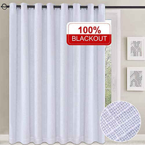 Rose Home Fashion 100% Blackout Curtain, Linen Curtains, Double Layer Curtain with Thermal Insulated Liner, Grommet Curtains for Living Room/Bedroom-1 Panel, 102x84 White