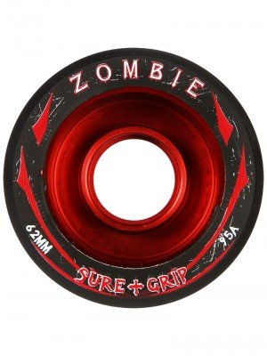 New! Sure Grip Zombie Quad Indoor Speed Skate Roller Derby Wheels - 8 Pack! (Red (95A), Max (62mm x 42mm))