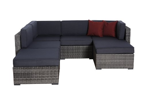 Atlantic Patio PLI GR 6 Piece Clermont Wicker Seating Set with Cushions, Grey