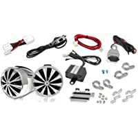 Motorcycle Waterproof Speaker Amplifier System - Set of 3 Inch 700W Weatherproof Speakers, AUX IN - Handlebar Mount Mini Stereo Audio Receiver Kit - For ATV, Motorbike - Lanzar OPTIMC90