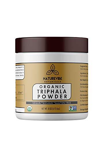 Naturevibe Botanicals USDA Organic Triphala Powder (8 Ounces) - Ayurvedic Formula for Detoxification & Rejuvenation - 100% Pure & Natural