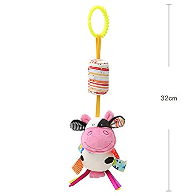 Bluelans Baby Pram Pushchair Stroller Toys, Cute Cartoon Animal Newborn Baby Bed Cot Crib Hanging Rattle Toys Infant Activity Plush Toy for Toddlers Boy Girls Xmas Birthday Gift Stocking Fillers Cow : Baby