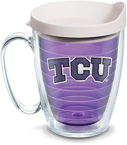 Tervis 1101335 TCU Horned Frogs Logo Tumbler with Emblem and White Lid 16oz Mug, Amethyst ()
