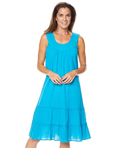 Anthony Richards Women's Crinkle Gauze Sun Dress - 100% Cotton Sleeveless Dress Turquoise LP