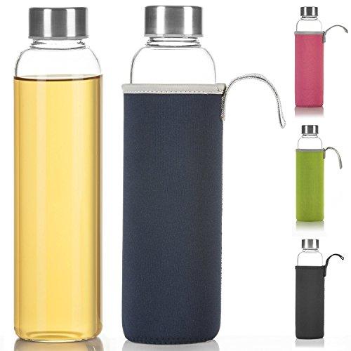 glas trinkflasche mit schutzhülle