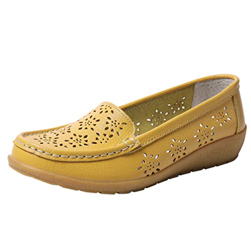 COOlCCI Women Loafers Leather Oxford Slip On Walking Flats Anti-Skid Boat Shoes Breathable Natural Walking Flat Loafer Yellow